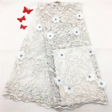 High Quality African Lace Fabric 3D Flowers Beaded Tulle New Design Nigerian HX1170-1