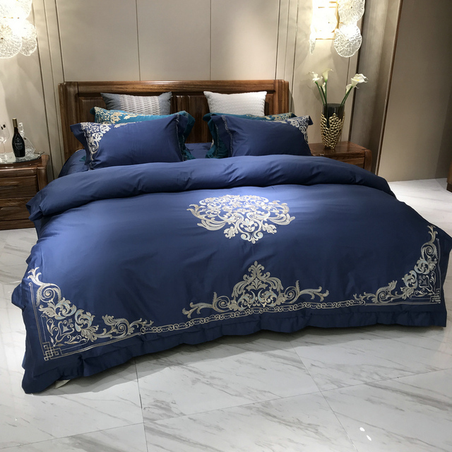 Ordinaire Golden Blue Luxury Queen King Bedding Set Egyptian Cotton Embroidery Bed  Cover Bedsheets/linen Set