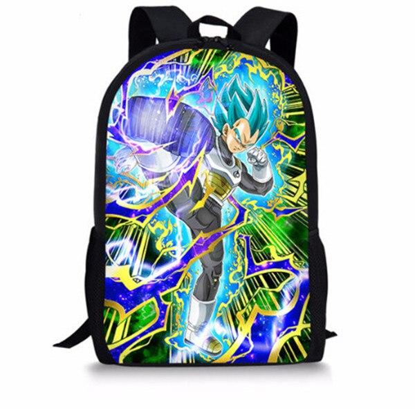 FORUDESIGNS Rucksack Männer Anime Dragon Ball Super Rucksäcke für Teen Jungen Kühlen Saiyan Sun Goku Vegeta Muster Kinder Schule Taschen