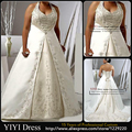 New Halter Neck Beaded Embriodery Satin A-line Plus Size Wedding Dresses Bridal Gowns Custom Size 2 4 6 8 10 12 14 16 18++
