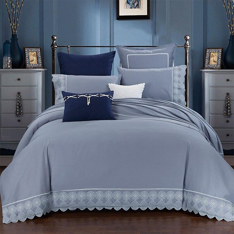 Постельное белье, хлопок, вышитые роскошные Серые Серебряные комплекты постельного белья, Королевский размер, Комплект постельного белья и