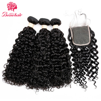 BeauHair Malaysian Water Wave 3 Bundles With 4*4 Lace Closure 100% Human Hair Weave Non Remy Hair Extensions Can be dyed