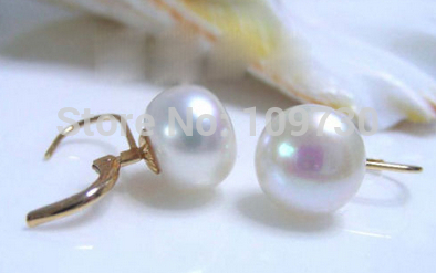 Ry00339 charmant 10-11 MM blanc naturel AA perle 14KGP boucles d'oreilles bijoux (A0425)