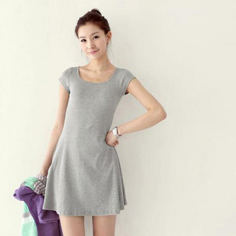 Frauen Sommer Sress Neue Koreanische Mädchen Mini Kleid Kurzarm Candy Farbe  einteiliges Dünnes Grundlegendes Minikleid