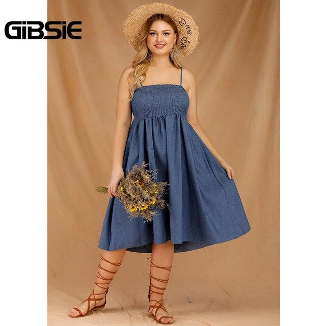 GIBSIE Plus Size Women's Denim Spaghetti Strap Dresses 2019 Summer Casual High Waist Big Hem Sleeveless Midi Dress Vestidos 5