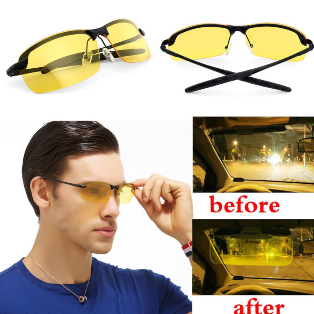 HD Night Driving Glasses Polarized Sunglasses Night Vision Glasses For Men Women Eye Protector (Yellow) new cat eye sunglasses woman brand design gafas de sol flat top mirror sun glasses for women lunettes oculos de sol feminino