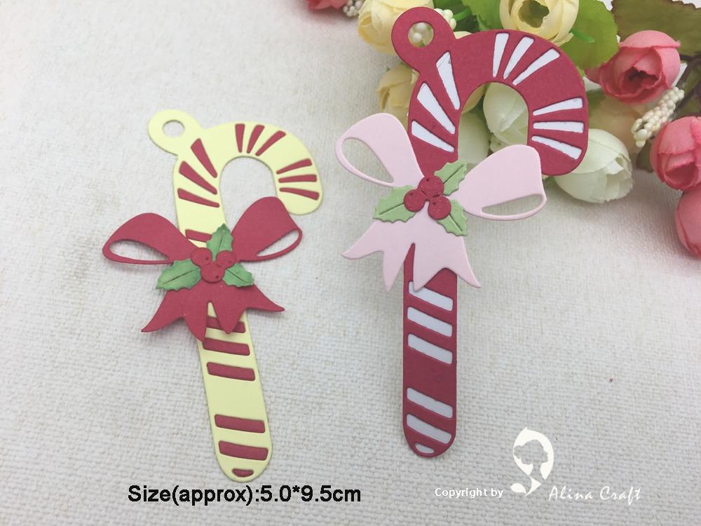 Christmas Candy Cane Stick Bow Metal Cutting Dies Stencil DIY Xmas Scrapbooking