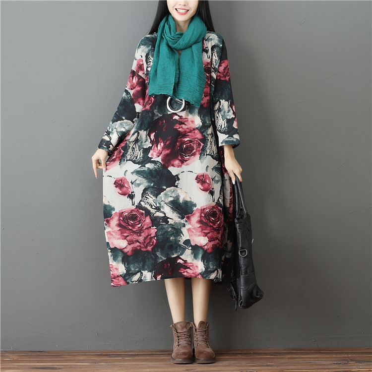 Women s Cotton   Linen Plus Size Retro Floral Print Long Dress lagenlook  Lady voguees Trend long shirts linen tunics-in Dresses from Women s Clothing  on ... a417e28fce8b