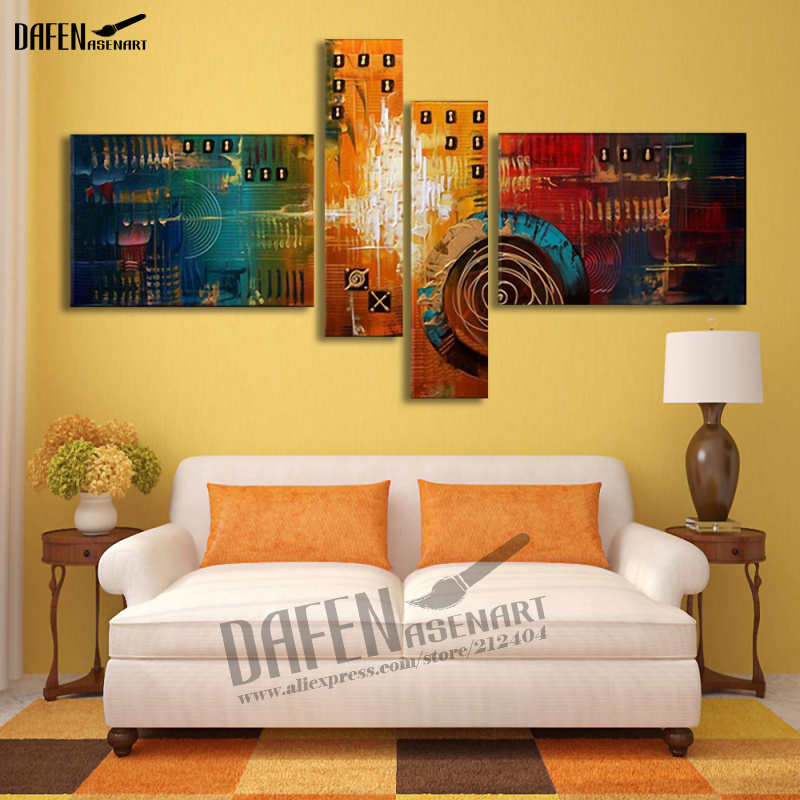 Modern Unframed 4pcs Canvas Art Hand Painted Abstract Oil Painting Pictures for Living Room Canvas Painting Wall Art-in Painting & Calligraphy from Home & Garden    1