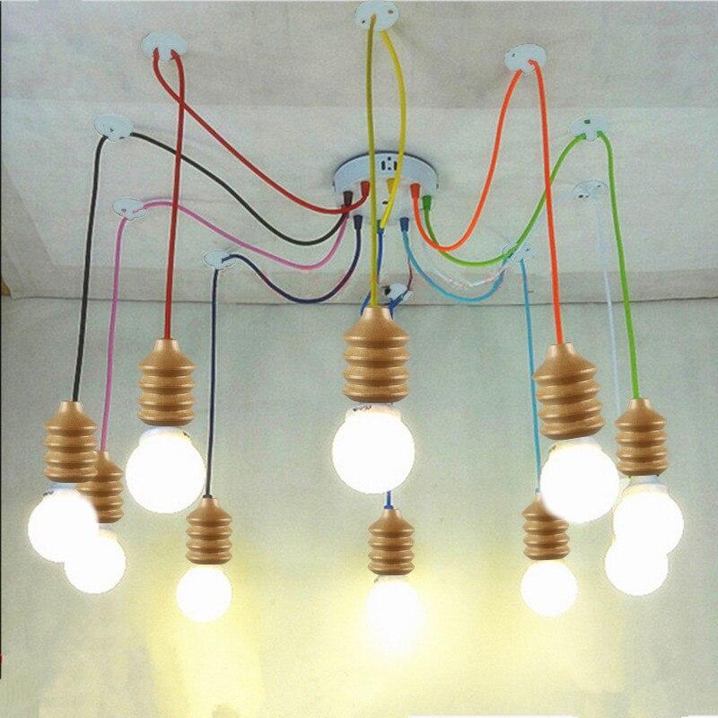 ФОТО Modern screw thread pendant light colorful wire wood E26/E27 lampholder Restaurant bar LED lighting light fixture NO BLUB