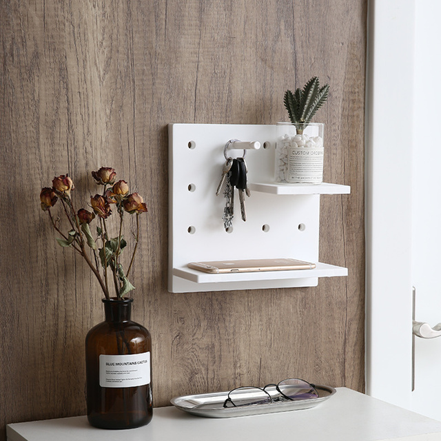 Almacenamiento montado en la pared estante de pared blanco elegante estante de moda Simple estante de almacenamiento decoración del hogar