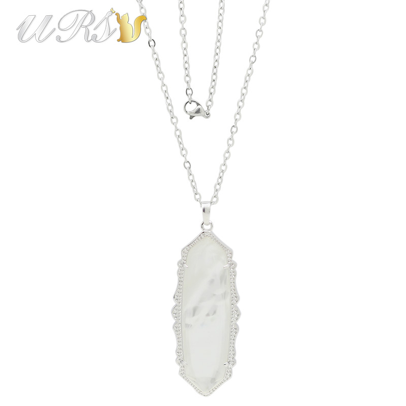 Trendy KS White Pearl Semi-precious Stone Rhodium Plated Pendant Necklace Modern Jewelry for Women with Matching Cable Chain trendy gold plated green stones patterns pendant chain necklace women jewelry