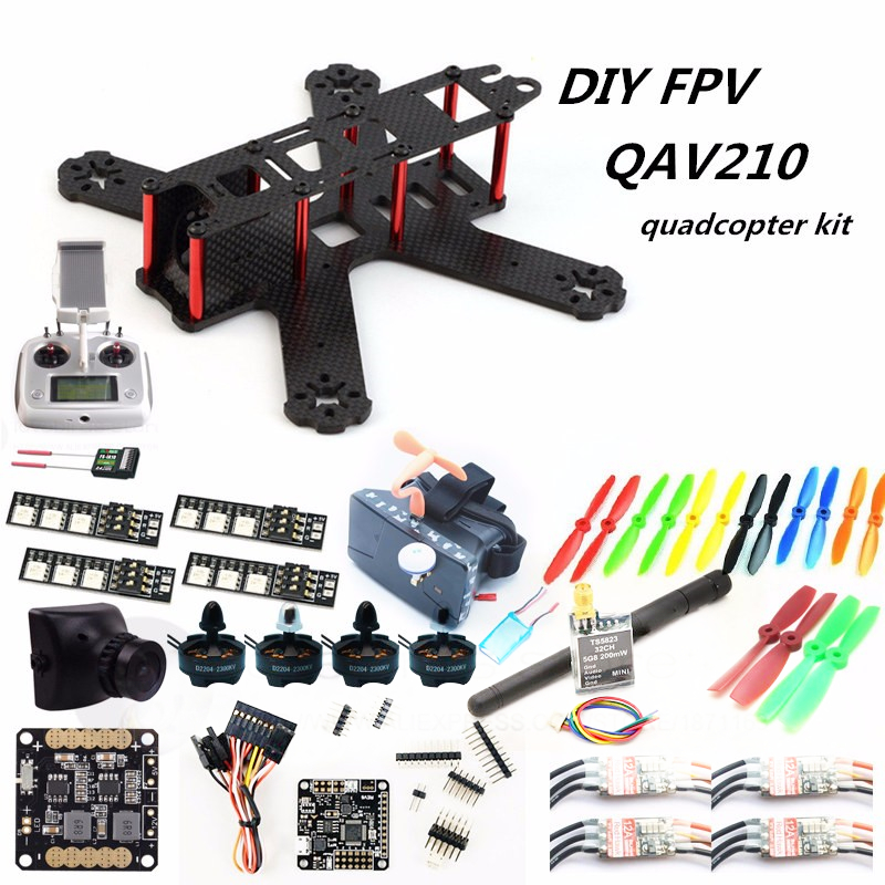 DIY FPV mini drone QAV210 quadcopter kit D2204 2300+ Red Hawk BL12A ESC + NAZE32 10DOF + 700TVL camera + Video goggles + FS-I6S diy fpv mini drone qav210 zmr210 race quadcopter full carbon frame kit naze32 emax 2204ii kv2300 motor bl12a esc run with 4s