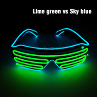 Colorful New Fashion EL Wire Fashion LED Lighting Flash Shutter Shaped Glasses For Costume Party Festival