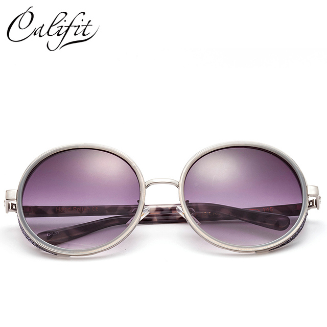 CALIFIT Gothic Steampunk Round Sunglasses Women Gradient Sunglasses Fashion Sun Glasses For Women