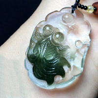 Fine Dark Green Ghost Natural Crystal Pendants Hand Carved Goldfish Pendant Necklace Lucky for Women Men Fashion Simple Jewelry