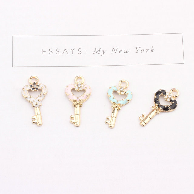 20pcs/lot Oil Drop Charms Flower Heart Shape Key Enamel Pendant Charm Pendants for DIY Bracelet Necklace