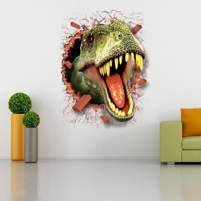 Image 5 - dinosaur stickers removable green 3D dino sticker painting home decor picture for children decorative car wall decor stickers-in Wall Stickers from Home & Garden