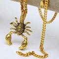 """High-end de signos do zodíaco Escorpião Escorpião Rei 24 K Banhado A Ouro dos homens Colar Pingente w/5mm 27.5 """"polegadas Cadeia Cubano Colar de Hip hop"""