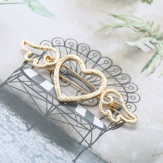 Lovely Silver/Gold Heart with Wings Shaped Women's Barrette