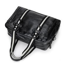 Men's Business Striped Leather Handbag