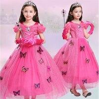 ABGMEDR Brand Newest Rose Girls Dress Children Aurora Cosplay Costume Kids Sleeping Beauty Party Clothing Girl