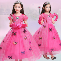 ABGMEDR Brand Newest Rose Girls Dress Children Aurora Cosplay Costume Kids Sleeping Beauty Party Clothing Girl