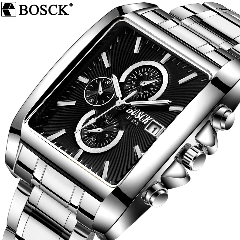 купить BOSCK Men Sport Watch Top Luxury Brand Stainless Steel Square Wrist Watch Men Waterproof Watches Relogio Masculino Reloj Hombre по цене 760.89 рублей
