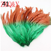 Z & Q & Y new 100 35 40CM (14 16 inches) red plus grass green bicolor cock tail DIY feather jewelry accessories masquerade hat