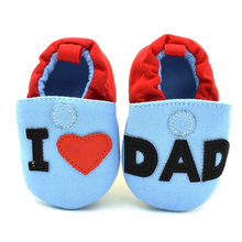 Baby Shoes Newborn Boys Girls Love Papa Mama Shoes First Walkers 0-12 Months Toddler First Walkers kids Blue cotton girls shoes