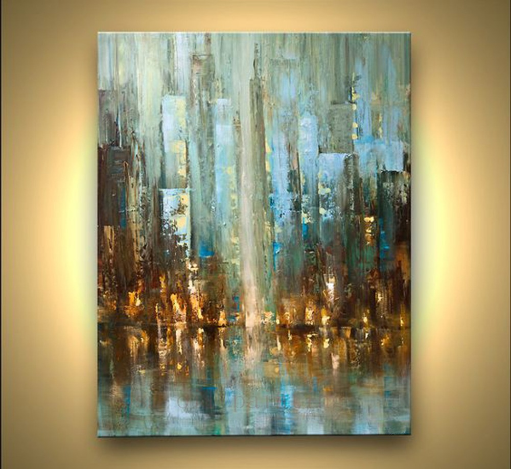 Handmade Modern Fine Art Abstract City Palette Knife Art Acrylic Pictures Handpainted Cityscape Before the Rain