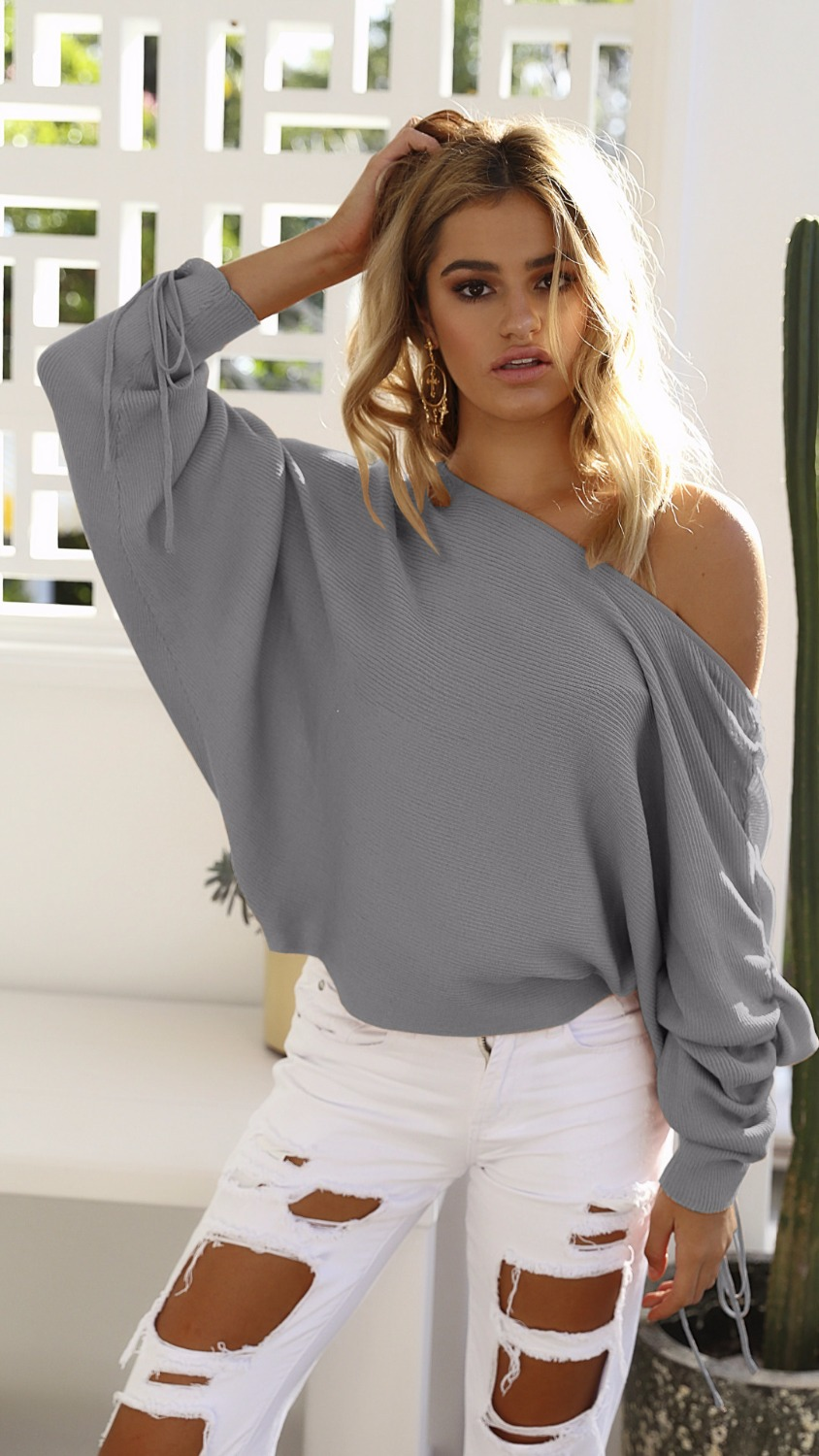 OYDDUP 2017 Autumn Women Off Shoulder Sweater Lace Up Women Sweaters and Pullovers  High Street Jumper Knitted Tops S XL 4 Colors-in Pullovers from Women s ... 204987956