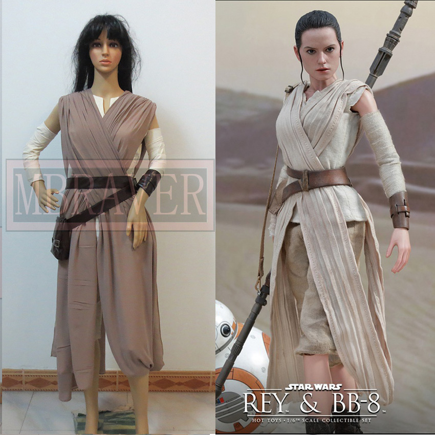 Star Wars 7The Force Awakens Rey Uniform Moive Jedi Halloween Cosplay Costume Custom Made-in Movie u0026 TV costumes from Novelty u0026 Special Use on ...  sc 1 st  AliExpress.com : female jedi costume  - Germanpascual.Com