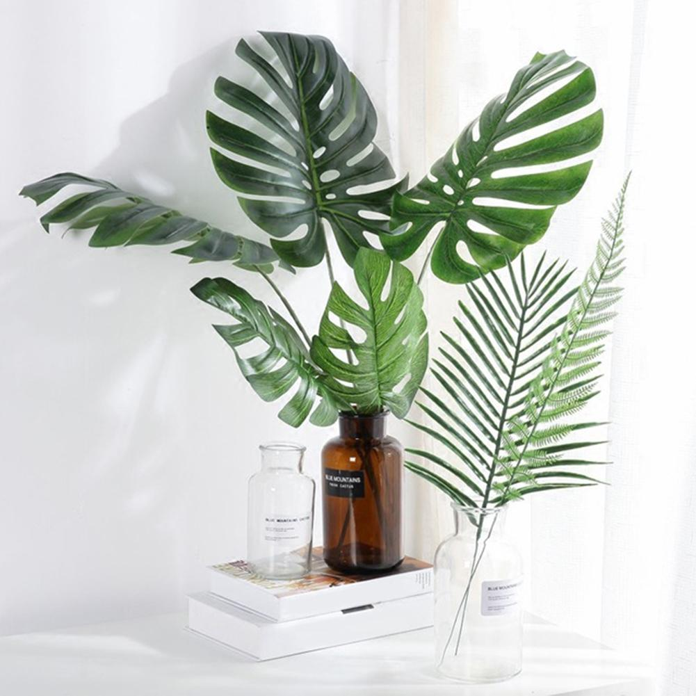 Green Artificial Leaves Nordic Style Fake Monstera Green Leaf Plant Home Office Decoration Paste Craft False Artificial Plants