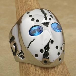 Image 2 - LINSION 316L Stainless Steel Halloween Jason Mask Hockey Blue CZ Eyes Mens Biker Rocker Punk Ring Cubic Zirconia Ring 3F101