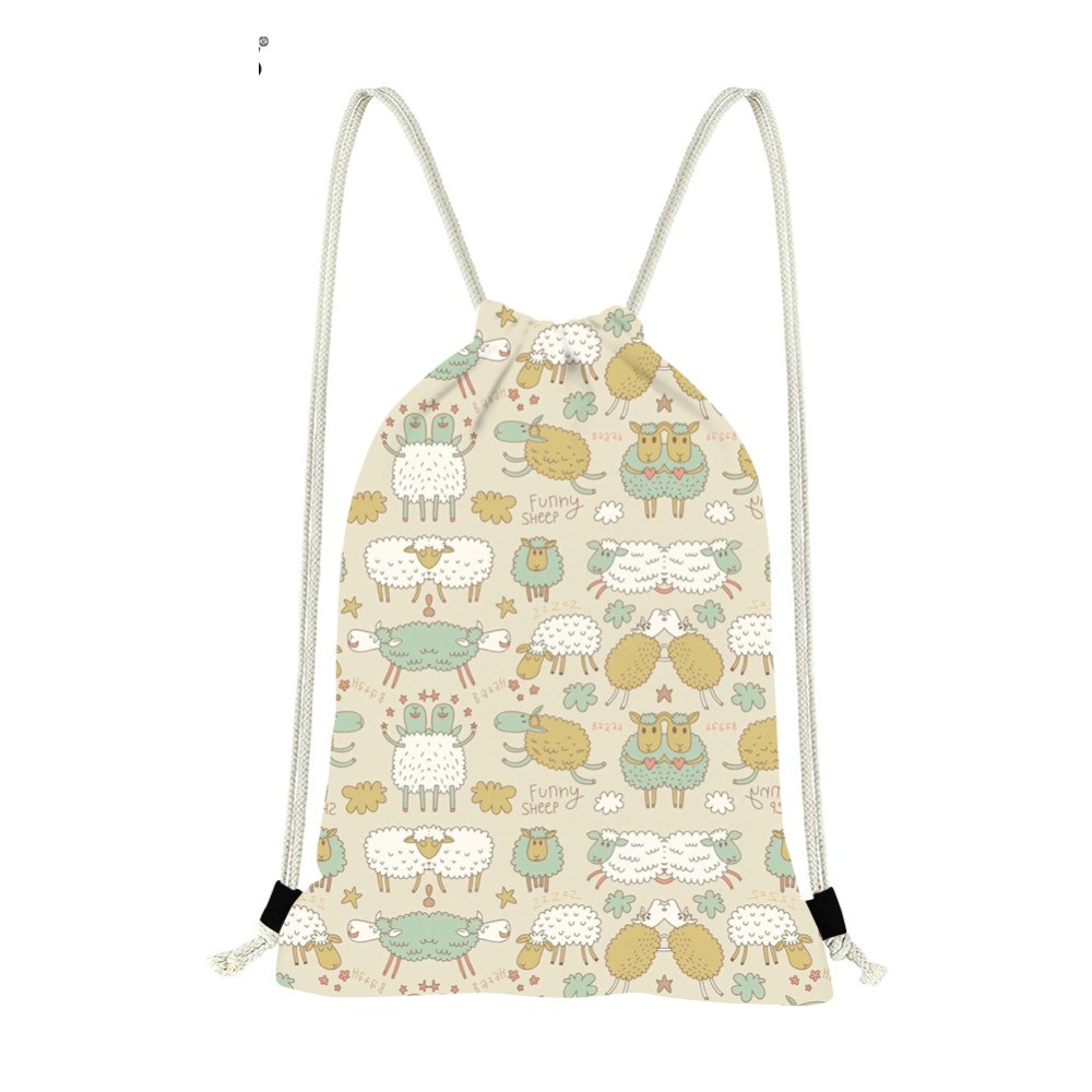 Cute Cartoon Sheep Printing Drawstring Bags Casual Girls Travel Storage Bag Shopping Strap Shoulder Backpack DaypackSumka