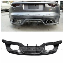 Auto Styling Carbon Fiber Rear Lip Bumper Diffuser 4 Exaust Tips Outlet Achterspoiler Diffusor voor Jaguar F-type 2013-2016(China)