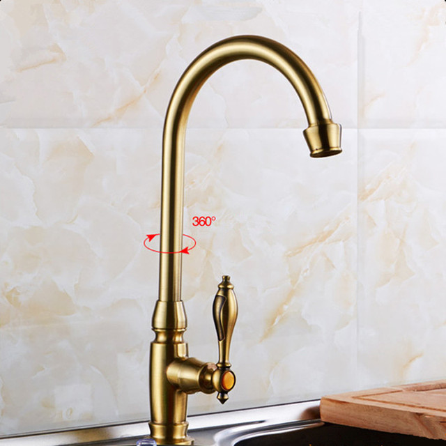 Antique Brass Kitchen Faucet Kitchen Sink Tap Cold Water Tap 360 Swivel  Spout Kitchen Faucet