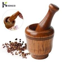 KONCO деревянная ступка и пестик набор, фарш для чеснока и имбиря дробилки, свежие измельченные терки для чеснока для специй измельчители