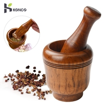 KONCO Wooden Mortar and Pestle Set, Minced Garlic & Ginger Mills Masher, Fresh Chopped Garlic Graters for Spice Grinders цена и фото