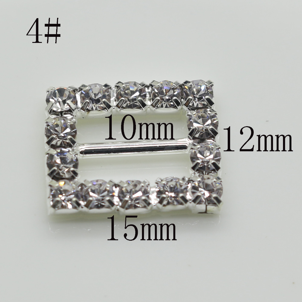Shiny Rectangle 10pc silver Rhinestone Buckle Diamante Ribbon Slider ...