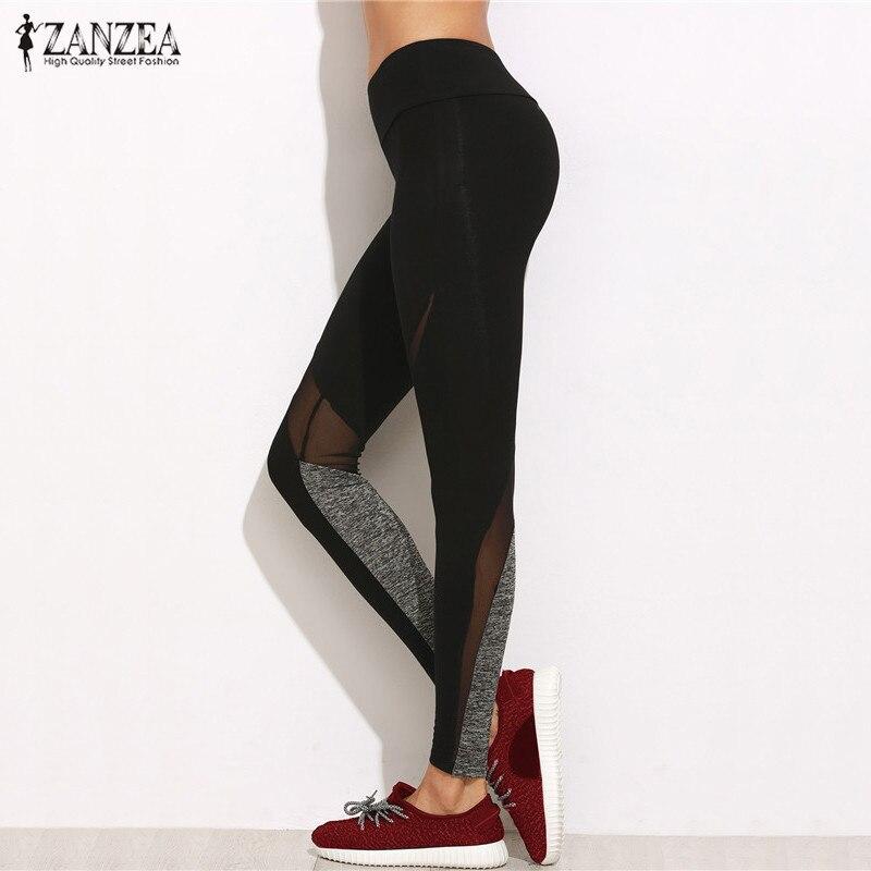 Oversized 2018 Summer ZANZEA Women Pants Casual Leggings Fashion Plain Elastic Waist Mesh Patchwork Bodycon Trousers Plus Size