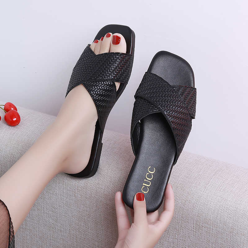 AARDIMI Pu Leather Summer Women Slippers Female Slides Women Flat Summers Shoes Solid Ladies Flip Flops Plus Size 35-41