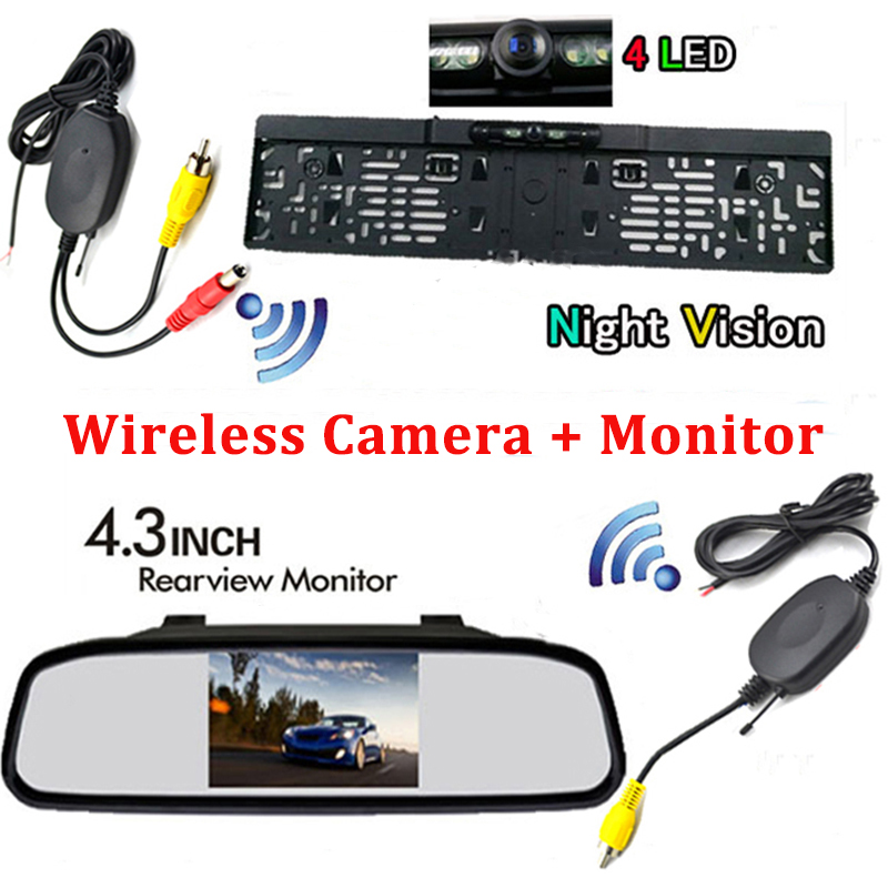 3In1 4.3 Inch TFT LCD Car Rearview Mirror Monitor with Night Vision Wireless Rear View Backup Reverse License Plate Car Camera