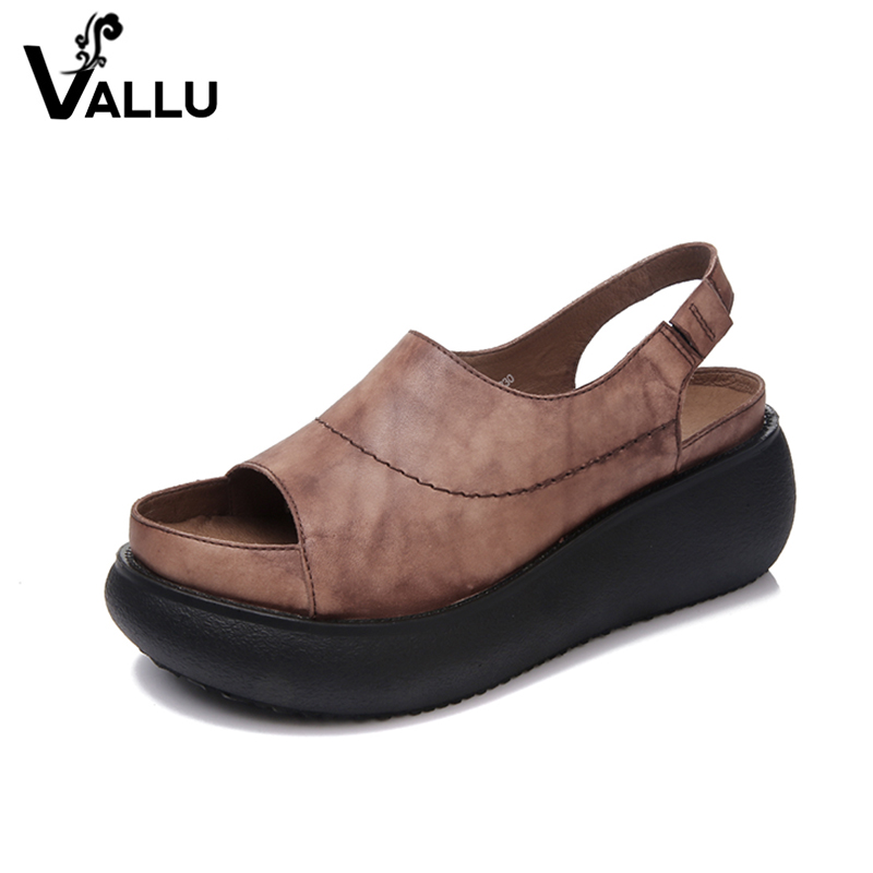 Summer Flat Platform Sandals Women 2018 Handmade Genuine Leather Shoes Woman Solid Vintage Women Platform Shoes smoby smoby скороварка tefal