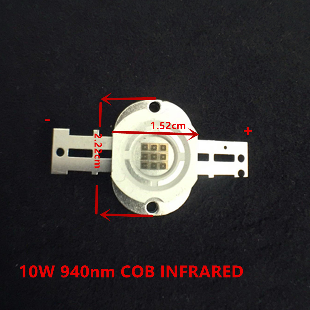 10W Infrared Emitting <font><b>IR</b></font> <font><b>led</b></font> High Power <font><b>940nm</b></font> COB <font><b>IR</b></font> Array Infrared Lamp Invisible <font><b>IR</b></font> <font><b>LED</b></font> For Computer & Office 10 Chips in One image