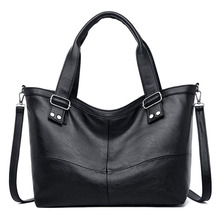 2019 Women Messenger Bags PU leather Purses and handbags Big High Quality Black Vintage Female Shoulder Bags Ladies Large Tote nesitu high quality new red green black split leather small women messenger bags ladies handbags female shoulder bags m0965
