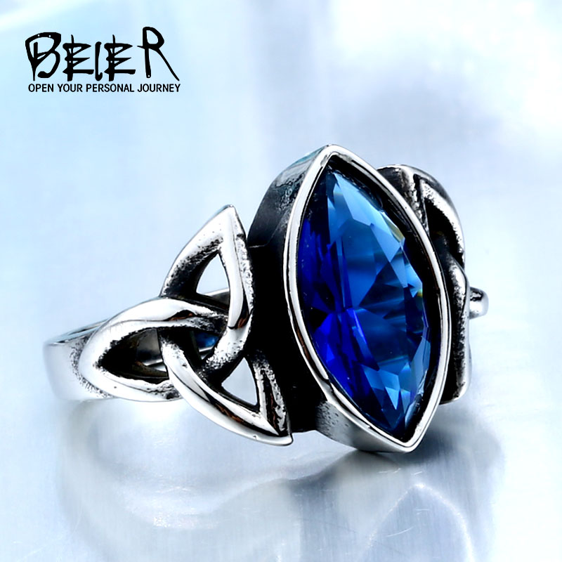 BEIER  NEW Cool Blue/Red/Black Zircon Northern Europe Viking Stainless Steel Ring Vintage Retro Geometry Jewelry For Man BR8-269