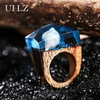 UILZ Fashion White Conch Resin Wood Rings Vintage Rectangle Handmade Rings Women Men Jewelry Gift JWRP044
