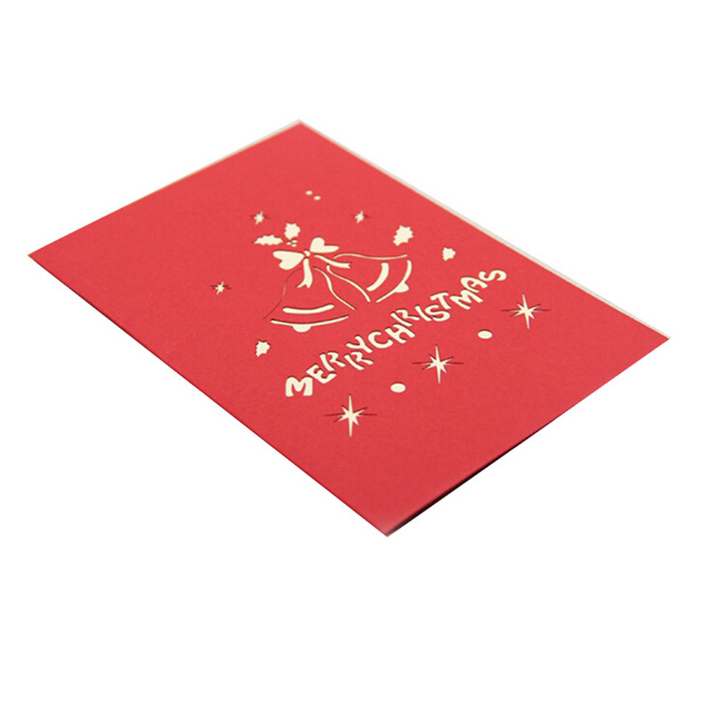 (10 pieces/lot)Paperboard Stocking and 3D Jingle Bells Festive Party Christmas Decoration Supplies Greeting Cards Wholesale